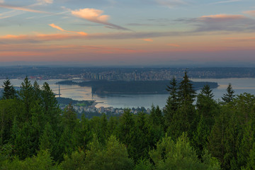 Sunrise over City of Vancouver BC Canda