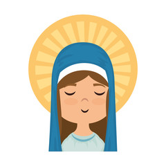 cartoon virgin mary face icon over white background colorful design vector illustration