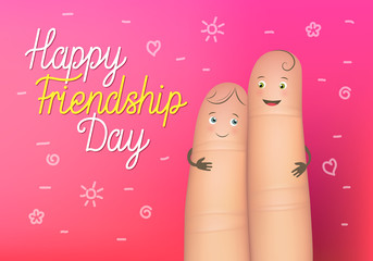 Happy friendship day poster. Realistic finger people card. Celebration card showing affection and bond between real friends. Flat style vector illustration on pink background