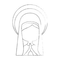 virgin mary icon over white background vector illustration