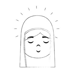 cartoon virgin mary icon over white background vector illustration