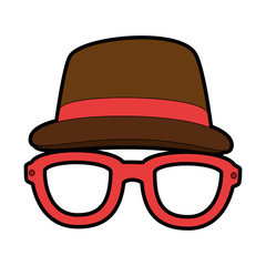 hat and glasses icon over white background colorful design vector illustration