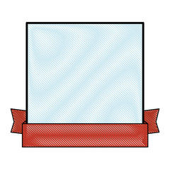 decorative frame with ribbon icon over white background colorful design vector illustration