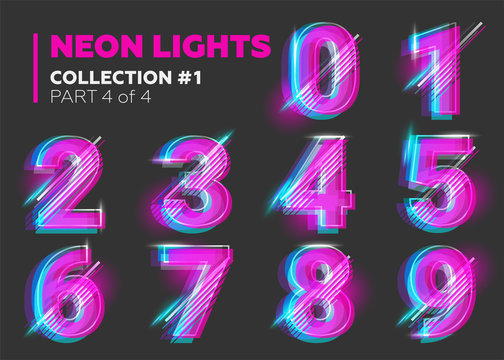 Vector Neon Character Typeset. Glowing Letters on Dark Background.
