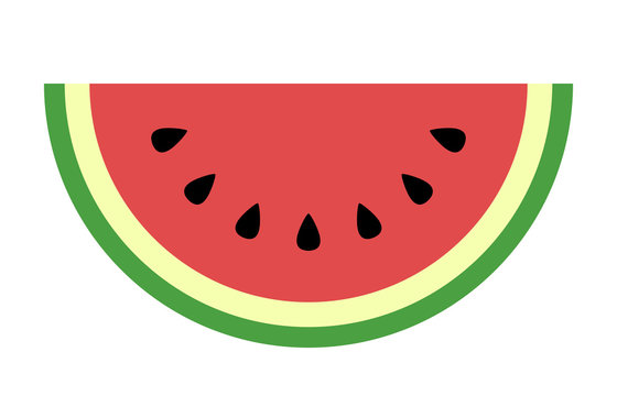 Watermelon fruit slice or cross section with seeds flat color art vector icon for apps and websites