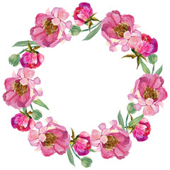 Wildflower peony flower wreath in a watercolor style. Full name of the plant: peony. Aquarelle wild flower for background, texture, wrapper pattern, frame or border.