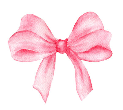 Watercolor pink bow. Hand painted gift bow isolated on white background. Party or greeting object, bow for your creativity