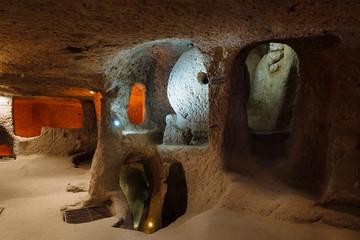 Interior of underground city in Cappadocia, Turkey