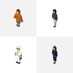 Isometric People Set Of Businesswoman, Girl, Seaman And Other Vector Objects. Also Includes Worker, Guy, Sailor Elements.