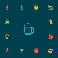Set Of 13 Drinks Icons Set.Collection Of Fridge, Wine, Teapot And Other Elements.
