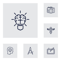 Set Of 6 Creative Outline Icons Set.Collection Of Concept, Brain, Writing And Other Elements.