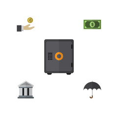 Flat Icon Gain Set Of Greenback, Hand With Coin, Bank Vector Objects. Also Includes Greenback, Coin, Bank Elements.