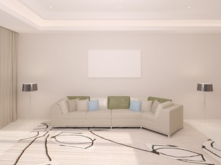 Mock up a modern spacious living room with a fashionable sofa and stylish floor lamps.
