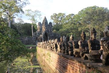 Cambodia . Angkor Thom City . The south gate . Siem Reap Province . Siem Reap City .