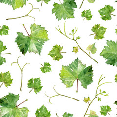 seamless texture of grape leaves, watercolor sketch