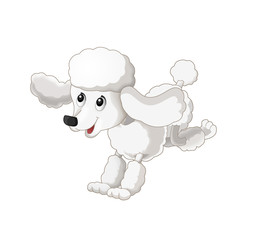 Cartoon happy dog is running jumping and looking - isolated