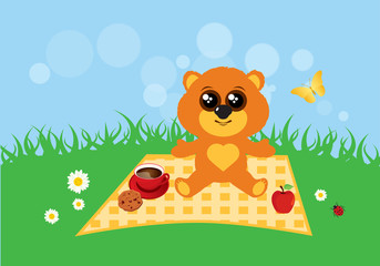 Teddy bear in the meadow vector. Cute teddy bear vector illustration. Teddy bear in summer