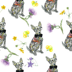 Dog Terrier pattern.  Seamless pattern with portraits of dogs.