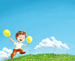 Happy boy run on field of flowers. Author style illustration