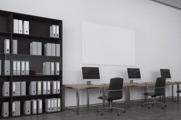 White open space office, bookcase