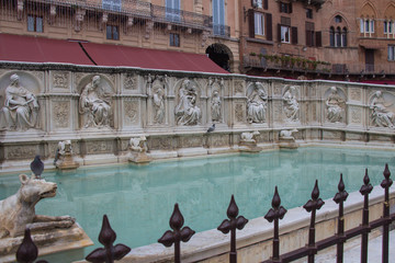 Fonte Gaia or fountain of joy, Piazza del Campo, Siena, Tuscany, Italy