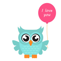 cartoon owl with balloon