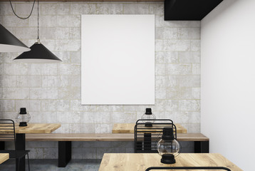 Gray and white cafe, vertical poster