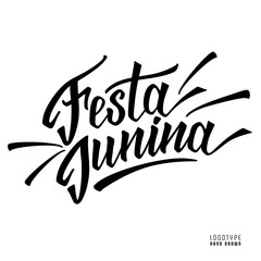 Hand drawn logotype for Festa Junina festival of Brasil