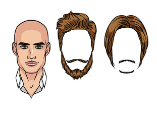Types of beard and hairstyle for a man. Portrait of a modern fashionable guy.
