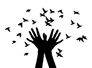 Black and white vector illustration depicting hands, letting out a flock of birds.