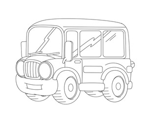 minibus stock photos and royalty free images vectors and 57 VW Bus cartoon happy and funny looking cartoon bus coloring page illustration for children