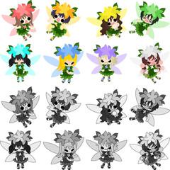 The icons of cute cute fairies
