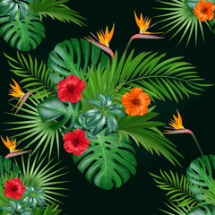 Seamless botanical exotic vector pattern with green palm leaves and hibiscus flowers on dark background.