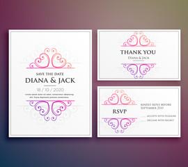 wedding card invitation design with thank you card