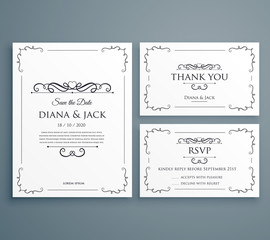 clean wedding invitation, thankyou card, save the date template design
