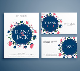 wedding suite invitation card with flower decoration including save the date and thank you template