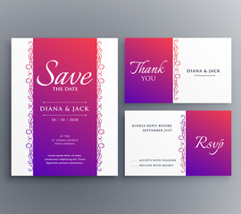 save the date wedding card template design with floral decoration