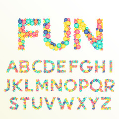 colorful font and alphabet letters, best for fun celebration styles