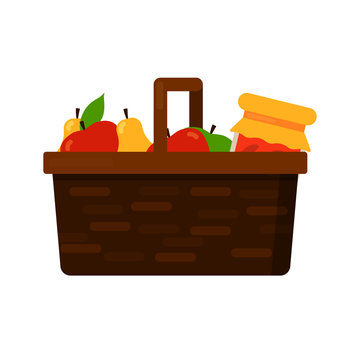 Wicker basket with fruits apple and pear and homemade jam or juice jar. Vector flat illustration isolated on white background.