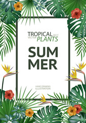 Tropical palm leaves background. Invitation or cover or poster design with jungle leaves and flowers. Vector illustration in trendy style.