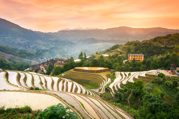Foto auf Acrylglas Reisfelder Sunset over terraced rice field in Longji, Guilin in China