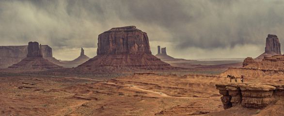Printed roller blinds Deep brown desert landscape with horse in Monument Valley, USA