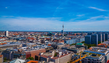 Beautiful top view of the skyline of Berlin - Germany with the Tv Tower and Berliner Dom. Berlin, Germany.