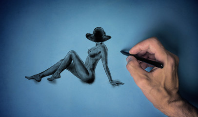 Drawing a naked girl
