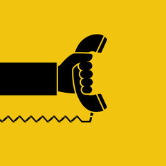 Handset in hand silhouette. Holding telephone icon. Old classic phone pictogram. Vector illustration flat design. Isolated on yellow background.