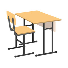 Cartoon School Desk icon. Isolated Vector illustration