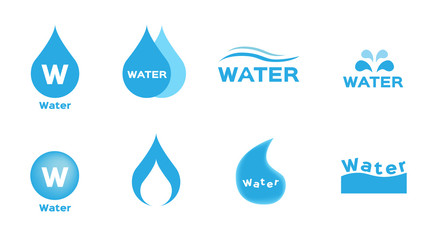 water drop and aqua icon vector on white background .