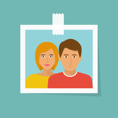 Photo of couple in love, glued with tape. Family man and woman. Young people are happy. Smile on the face. Vector illustration flat design. Isolated on white background. Romantic picture.