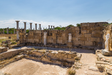 Ruins of statues in the ancient city of Salamis, Northern Cyprus