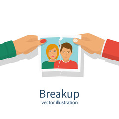 Break up. Crisis relationship divorce. Man and woman tear a group photo as  symbol conflict, unhappy love. Vector illustration flat design. Parting couple. Isolated on white background.